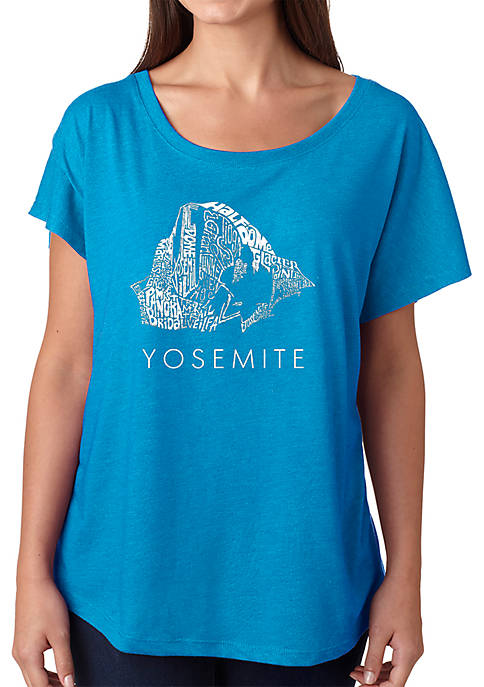 Loose Fit Dolman Cut Word Art T-Shirt - Yosemite