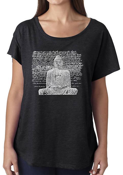Loose Fit Dolman Cut Word Art T-Shirt - Zen Buddha