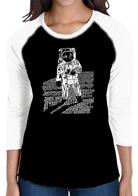Raglan Baseball Word Art T-Shirt - Astronaut