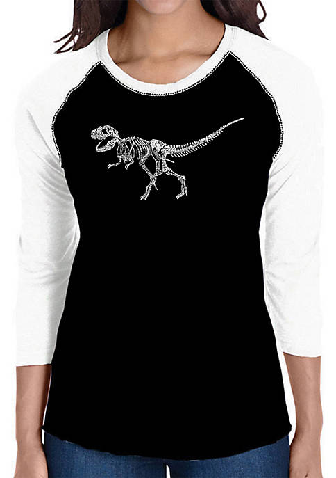 Raglan Baseball Word Art T-Shirt - Dinosaur T-Rex Skeleton