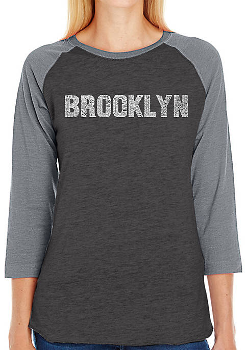 Raglan Baseball Word Art T-Shirt - Brooklyn Neighborhoods