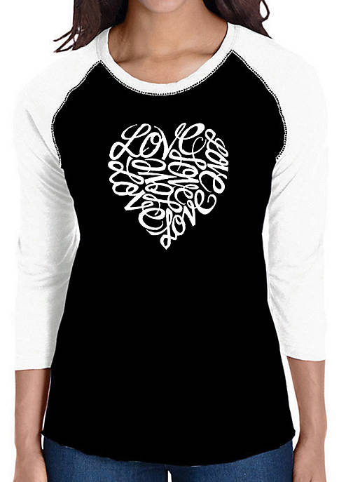 LA Pop Art Raglan Baseball Word Art T-Shirt