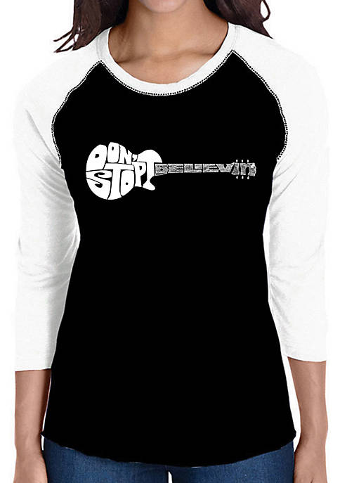 Raglan Baseball Word Art T-Shirt - Dont Stop Believin
