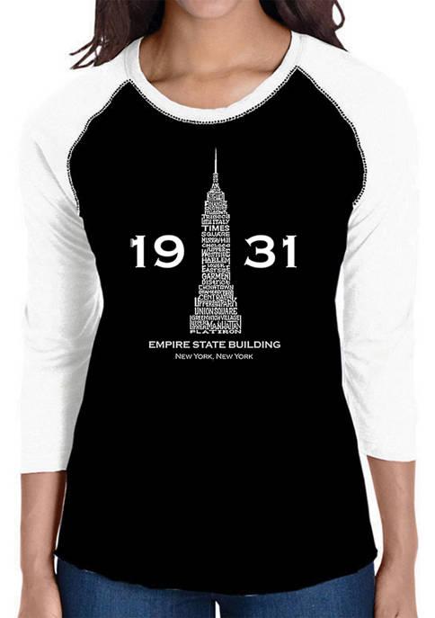 Womens Raglan Baseball Word Art T-Shirt - Empire State Building