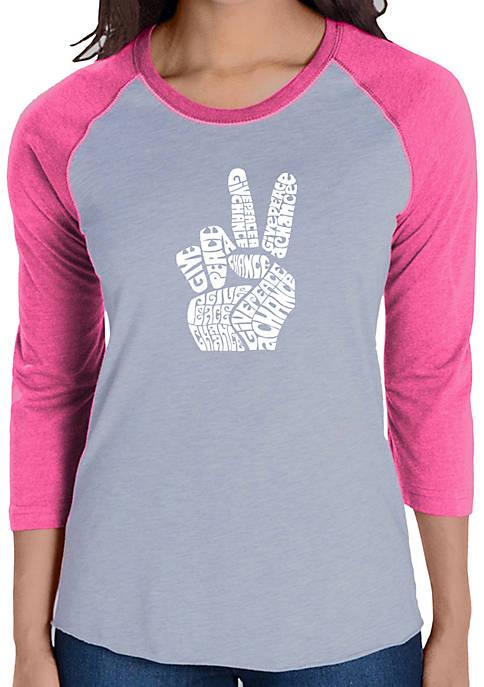 Raglan Baseball Word Art T-Shirt - Peace Fingers