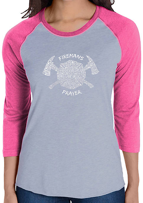 Raglan Baseball Word Art T-Shirt - Firemans Prayer
