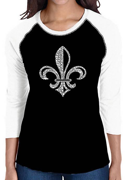 Raglan Baseball Word Art T-Shirt - Lyrics to When The Saints Go Marching In