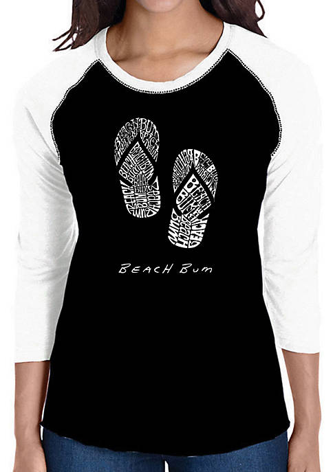 Raglan Baseball Word Art T-Shirt - Beach Bum