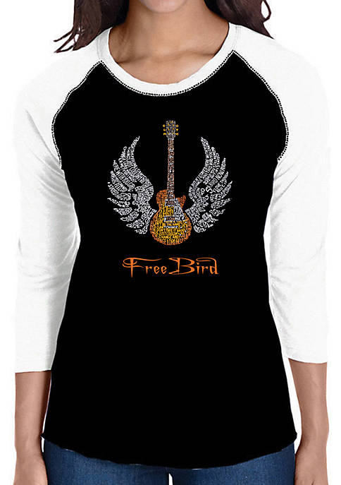 Raglan Baseball Word Art T-Shirt - Lyrics to Freebird