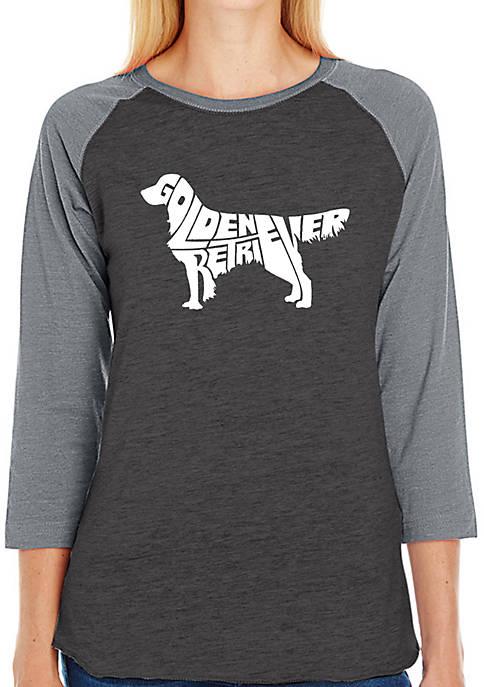 Raglan Baseball Word Art T-Shirt - Golden Retriever