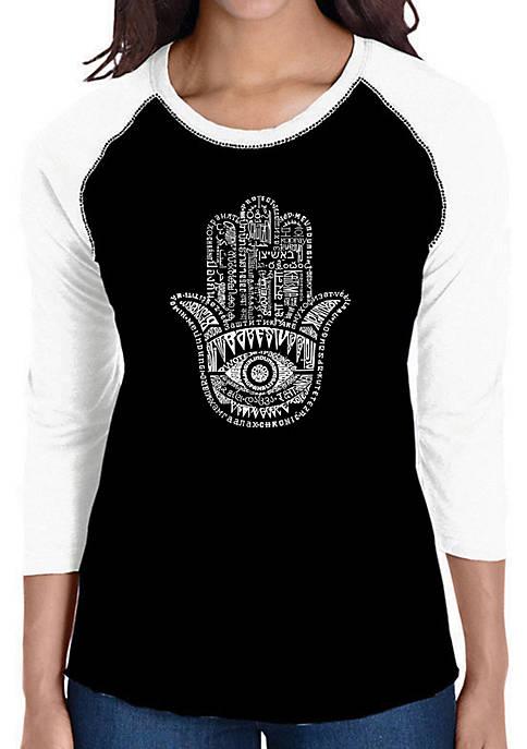 Raglan Baseball Word Art T-Shirt - Hamsa