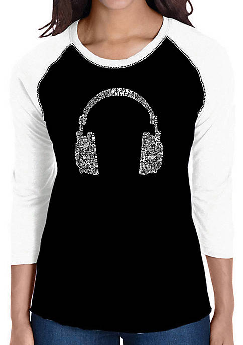 Raglan Baseball Word Art T-Shirt - 63 Different Genres of Music