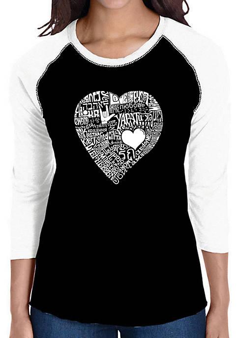 Raglan Baseball Word Art T-Shirt - Love in 44 Different Languages