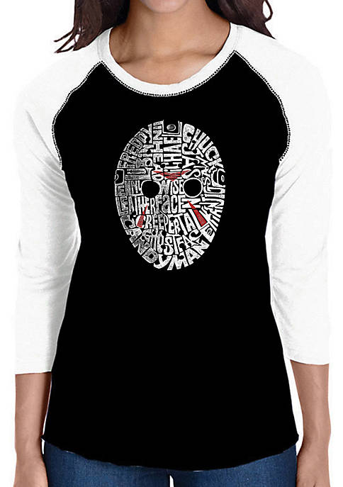 Raglan Baseball Word Art T-Shirt - Slasher Movie Villians