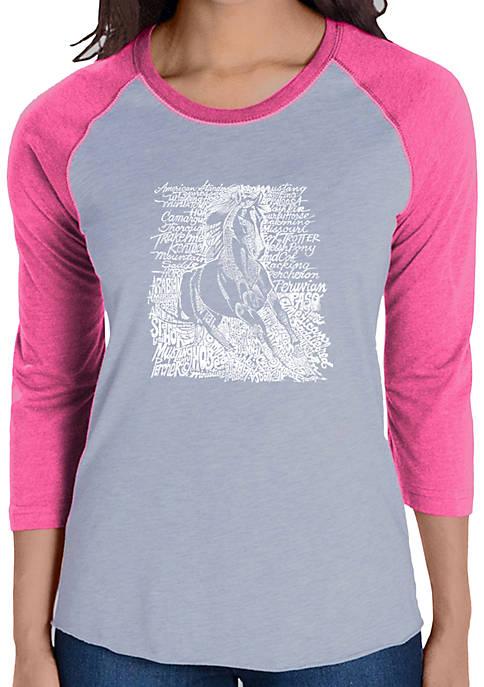 Raglan Baseball Word Art T-Shirt - Popular Horse Breeds