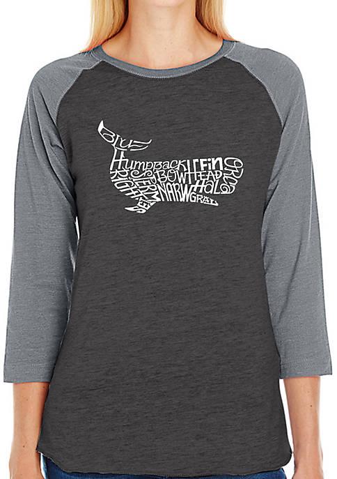 Raglan Baseball Word Art T-Shirt - Humpback Whale