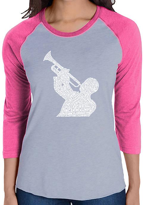 Raglan Baseball Word Art T-Shirt - All Time Jazz Songs