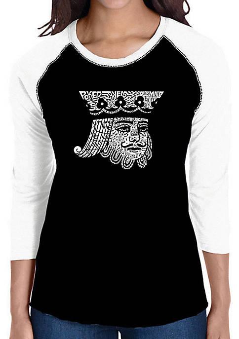 Raglan Baseball Word Art T-Shirt - King of Spades