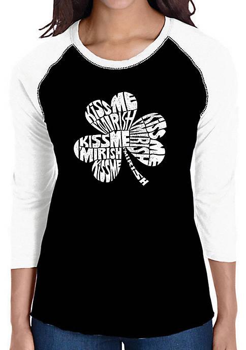 Raglan Baseball Word Art T-Shirt - Kiss Me Im Irish