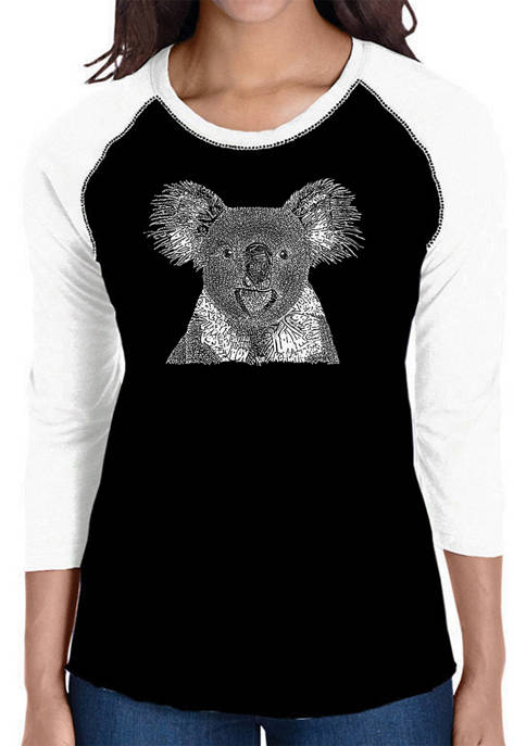 Womens Raglan Baseball Word Art T-Shirt - Koala