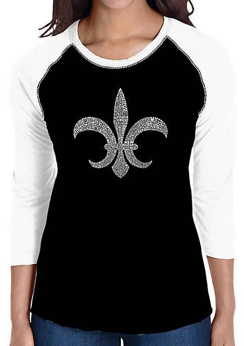 Raglan Baseball Word Art T-Shirt - Fleur de Lis - Popular Louisiana Cities