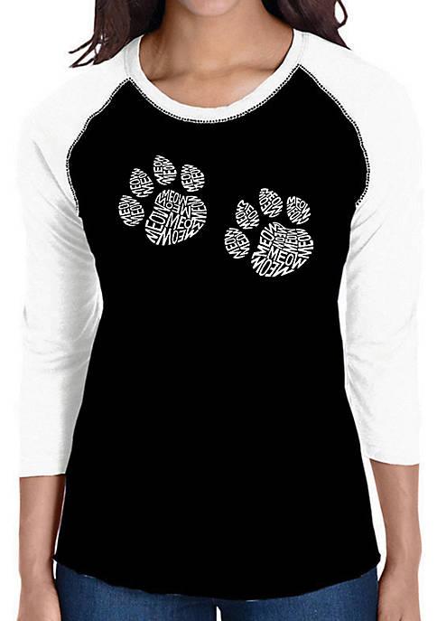 Raglan Baseball Word Art T-Shirt - Meow Cat Prints