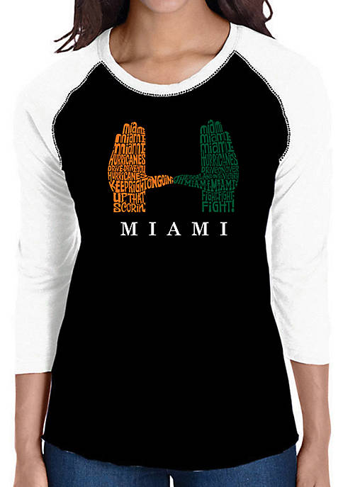 Raglan Baseball Word Art T-Shirt - Miami Hurricanes Hand Symbol