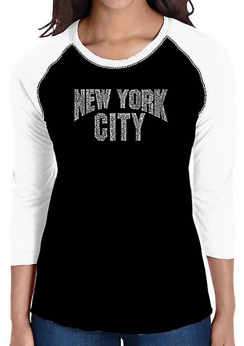 Raglan Baseball Word Art T-Shirt - NYC Neighborhoods