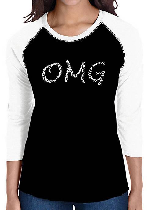 Raglan Baseball Word Art T-Shirt - OMG
