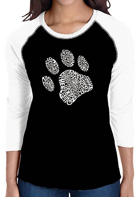 Raglan Baseball Word Art T-Shirt - Dog Paw