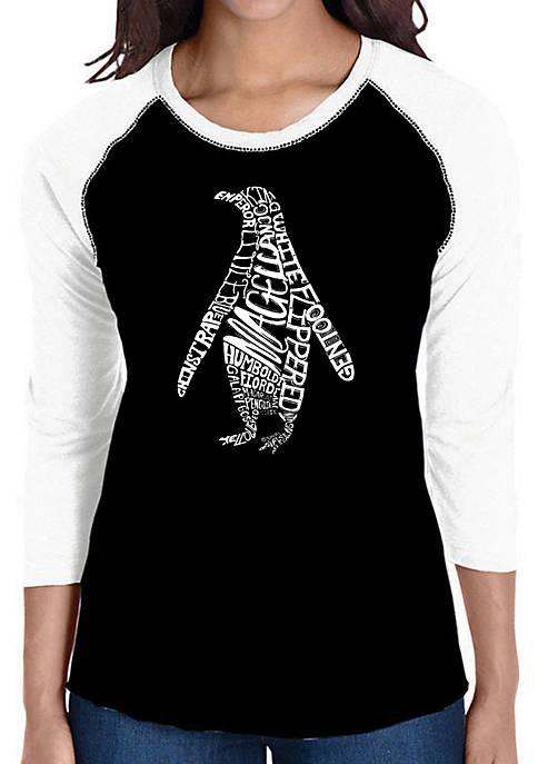 Raglan Baseball Word Art T-Shirt - Penguin