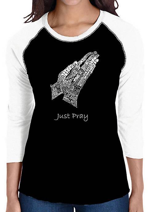 Raglan Baseball Word Art T-Shirt - Prayer Hands