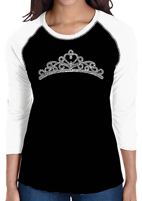 Raglan Baseball Word Art T-Shirt - Princess Tiara