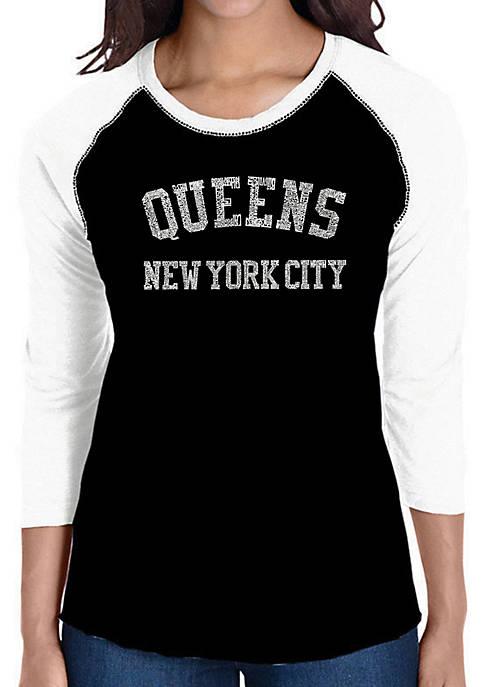 Raglan Baseball Word Art T-Shirt - Popular Neighborhoods in Queens NY