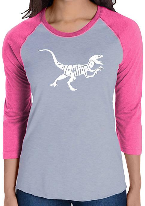 Raglan Baseball Word Art T-Shirt - Velociraptor