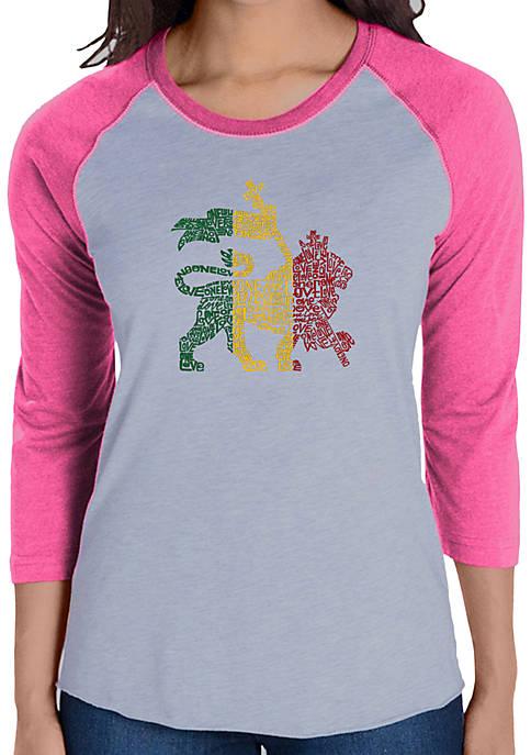 Raglan Baseball Word Art T-Shirt - Rasta Lion - One Love