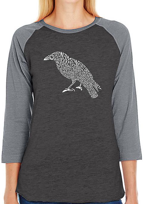 Raglan Baseball Word Art T-Shirt - Edgar Allen Poes The Raven