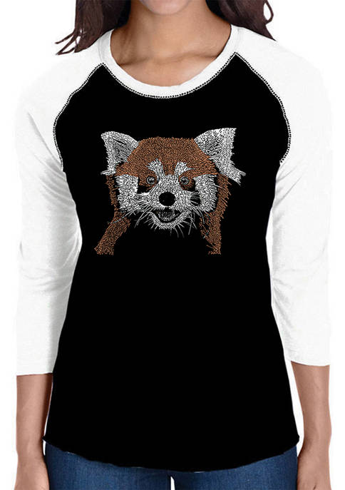 Womens Raglan Baseball Word Art T-Shirt - Red Panda