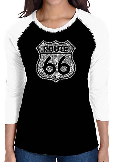 Raglan Baseball Word Art T-Shirt - Cities Along the Legendary Route 66