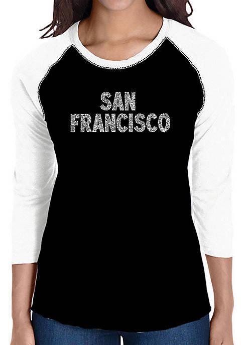 Raglan Baseball Word Art T-Shirt - San Francisco Neighborhoods