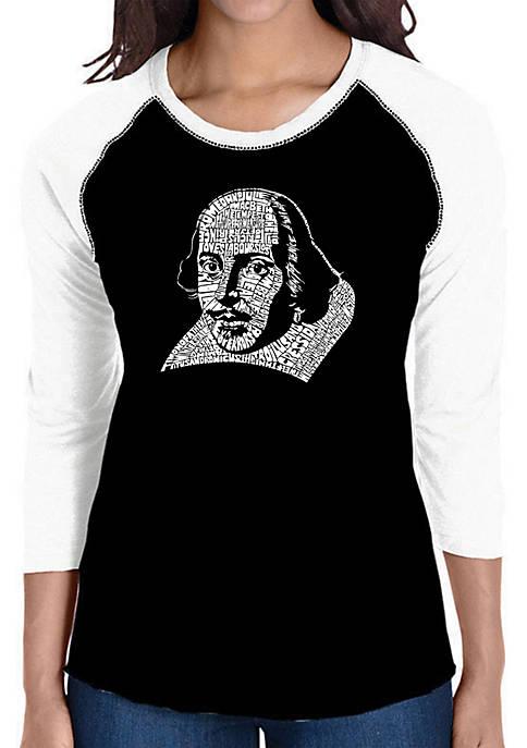 Raglan Baseball Word Art T-Shirt - Shakespeare Comedies and Tragedies