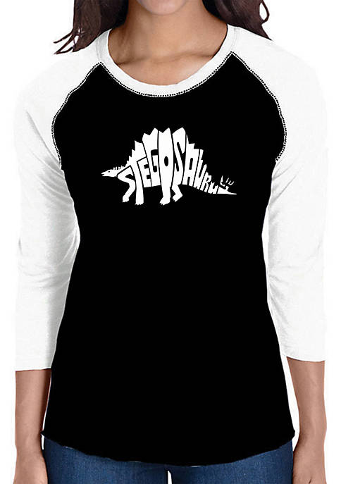 Raglan Baseball Word Art T-Shirt - Stegosaurus