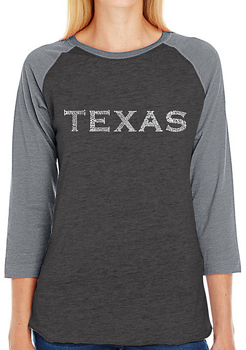 Raglan Baseball Word Art T-Shirt - The Great Cities of Texas