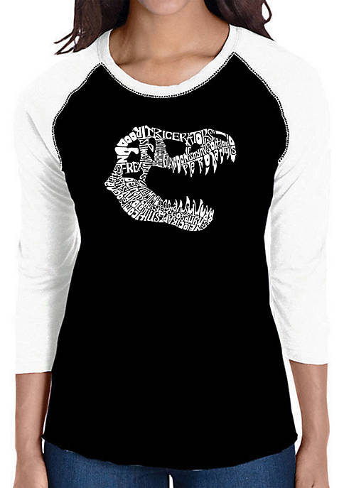 Raglan Baseball Word Art T-Shirt - T Rex