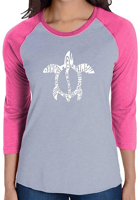 Raglan Baseball Word Art T-Shirt - Honu Turtle - Hawaiian Islands