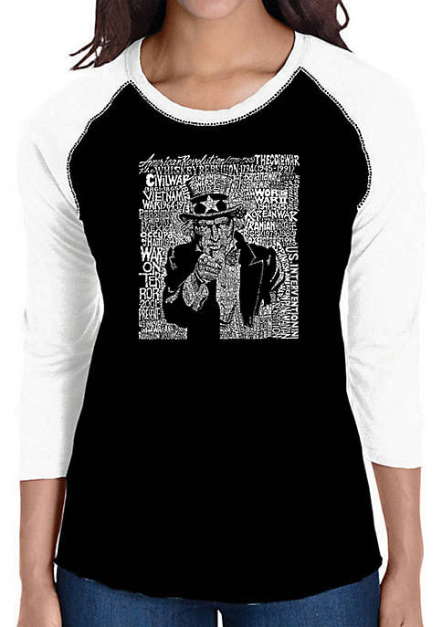 Raglan Baseball Word Art T-Shirt - Uncle Sam