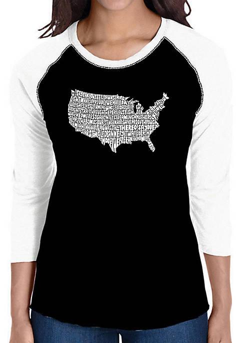 Raglan Baseball Word Art T-Shirt - The Star Spangled Banner