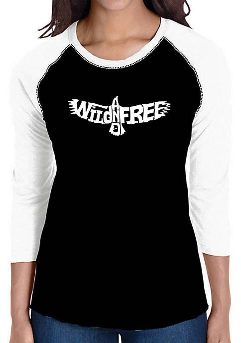 Raglan Baseball Word Art T-Shirt - Wild and Free Eagle