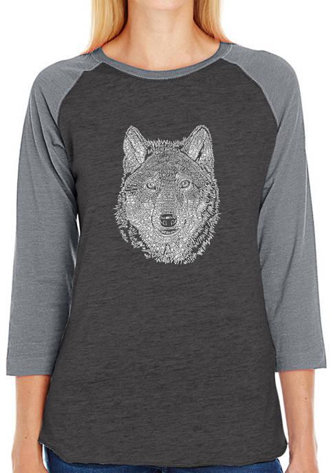 Womens Raglan Baseball Word Art T-Shirt - Wolf