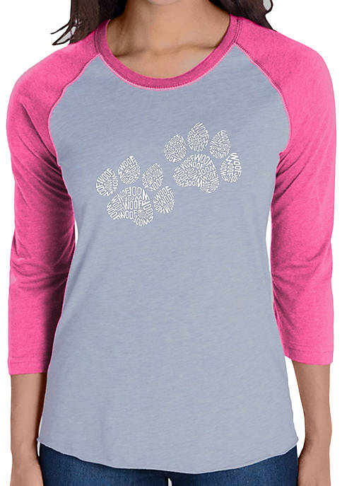 Raglan Baseball Word Art T-Shirt - Woof Paw Prints